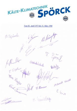 25 Jahre Kälte-/Klimatechnik Spörck 1.4.1973 bis 31.3.1998